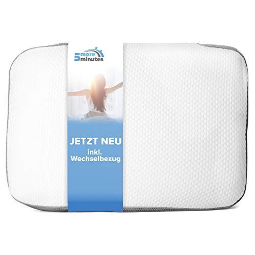 5more minutes Orthopädisches Kissen aus Memory Foam  60x40x12cm  beugt Schmerzen & Verspannungen vor - entlastendes Nackenkissen inkl. 2. Bezug zum wechseln- für einen erholsamen & ruhigen Schlaf