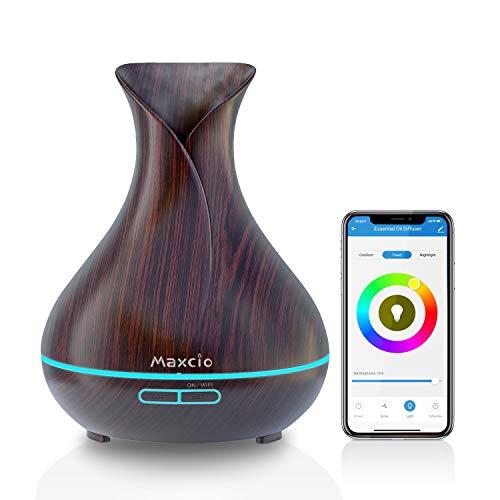 Maxcio Smart Aroma Diffuser 400ml, Ätherische Öl WLAN Ultraschall Duftlampe Luftbefeuchter, Kompatibel mit Alexa und Google Home, APP Steuerbar, Timer Funktion, 7-LED-Farbe Für Schlafzimmer