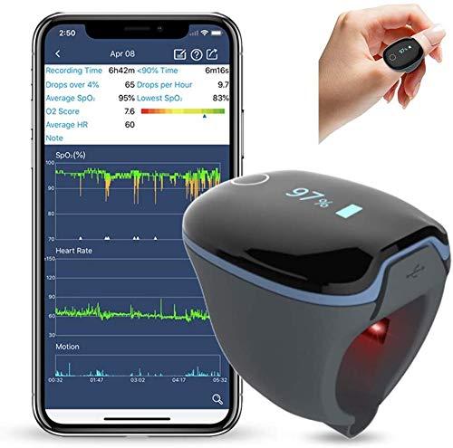ViATOM Pulsoximeter Sauerstoffsättigung Messgerät Finger, Tragbarer Schlaf-Monitor Nachts, Bluetooth-Sauerstoff-Monitor Herzfrequenz-Monitor, Vibrations-Feedback, APP für Android & iOS, PC-Bericht