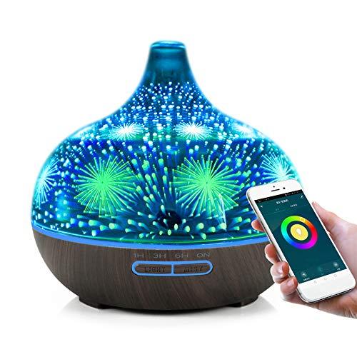 Alexa Aroma Diffuser, Smart Ätherische Öle Diffuser mit Telefon App, 400ML Glas Luftbefeuchter für Duftöl, Unterstützen Sie Alexa und Google Home, 7 Farb-LED, Timer, Zeitplaneinstellung, Schwarz