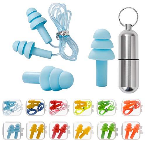 Ohrstöpsel für Gehörschutz, 12 Paar Gehörschutzstöpsel - SNR 31dB, aus wiederverwendbar Silikon, wasserdicht, weich - Gehörschutz zum Schlafen & für Flugzeuge - Gehörschutz Ohrstöpsel mit Tragbar Box