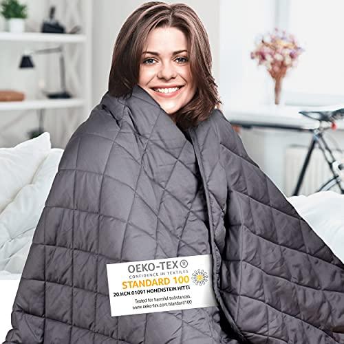 Wellax Gewichtsdecke – Therapiedecke – 7,2kg,152x203cm – Weighted Blanket – 100% Baumwolle – Für Stressabbau&Angstzustände – Mit Tasche
