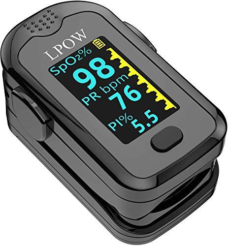 Pulsoximeter für die Fingerspitze, Blutsauerstoffsättigungsmesser für Pulsfrequenz, Herzfrequenzmesser und SpO2-Werte mit LED-Bildschirmanzeige und Batterien