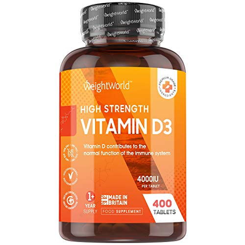 Vitamin D3 Tabletten 4000 IE - 400 Tabletten - 1 Tablette alle 4 Tage - Vegetarisch & Geprüfte Zutaten - 100% reines Cholecalciferol Vit D - Nahrungsergänzungsmittel für Jung & Alt - Von WeightWorld