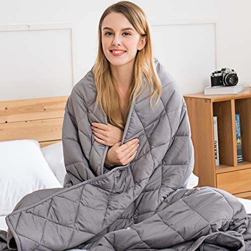 Jaymag Gewichtsdecke 135x200cm 7kg Therapiedecke für Kinder Erwachsene Schwere Decke für Besseren Schlaf, Stressabbau und Angstzustände Beschwerte Decke 100% Baumwolle Weighted Blanket