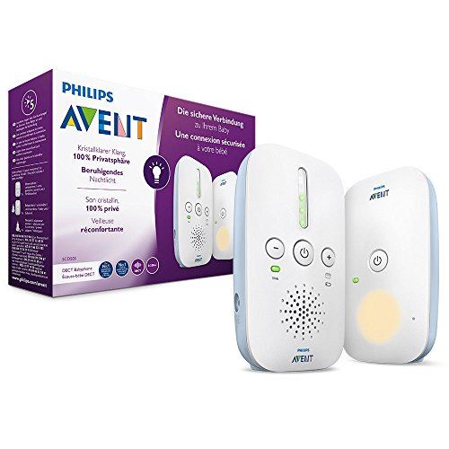 Philips Avent Audio Babyphone SCD503/26 - DECT-Technologie, Kristallklarer Klang, Eco-Mode, Nachtlicht, Maximale Reichweite, weiß