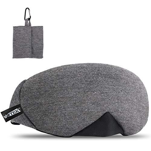 WOTEK schlafmaske, 100% Reine Baumwolle Einstellbare schlafbrille mit innovativ gewölbter Form, Atmungsaktive Augenklappe verhindert alles Lichtt, super bequem für Reise/Nickerchen/Nachtschlaf