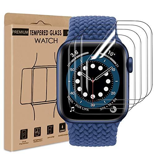 wsiiroon Schutzfolie Kompatibel mit Apple Watch Series 4/5/6/SE 44mm [4 Stück], TPU Flexibel Folie, Anti-Bläschen Panzerglas TPU Clear Displayschutzfolie für iWatch Series 6/5/4/SE 44mm