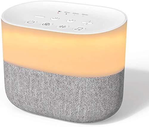 Einschlafhilfe Hevanto White Noise Machine mit Nachtlicht,26 Non-Looping-Sounds,Timer- und Memory-Funktion Sound Therapy Machine für Heim, Büro, Erwachsene und Babys