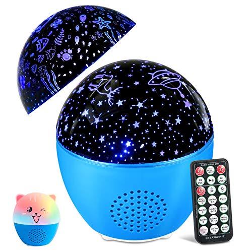 MOSUO LED Sternenhimmel Projektor Lampe Kinder Musik Nachtlicht, Ozean Sternenlicht Projektor USB Wiederaufladbar, Fernbedienung & Bluetooth Lautsprecher, Sterne Lampe für Baby, Kinderzimmer