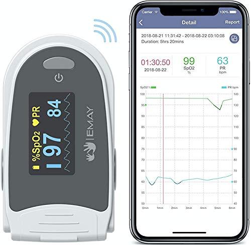 EMAY Schlafmonitor, Bluetooth-Sauerstoffmonitor zur Verfolgung von Sauerstoff und Herzfrequenz über Nacht mit integriertem Speicher, kompatibel mit iOS/Android Smartphones