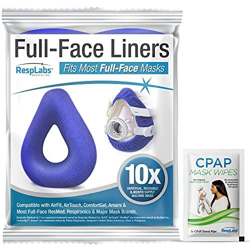 RespLabs CPAP Mask Liner für Vollmasken - Universal 10 Pack - Feuchtigkeitstransport, Druckreduzierung, Komfortsteigerung. Superweiche, Waschbare Baumwollbezüge.