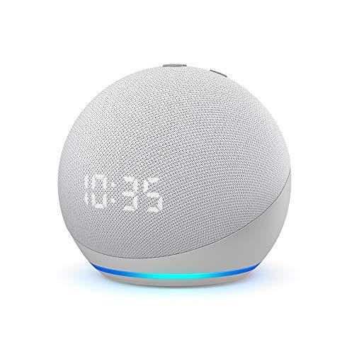 Der neue Echo Dot (4. Generation)   Smarter Lautsprecher mit Uhr und Alexa   Weiß