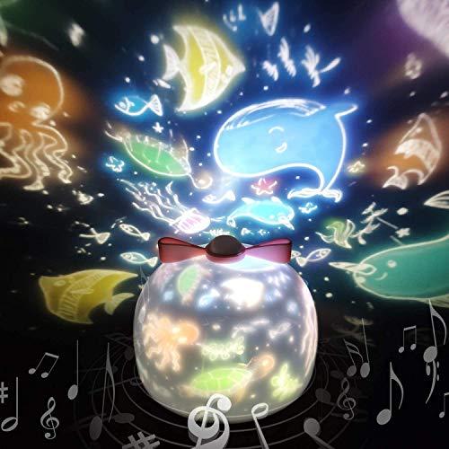 Sternenhimmel Projektor Lampe SYOSIN Kinder LED Musik Nachtlicht Baby Sterne Lampe mit 6 Projektionsfilmen 360 ° Drehbar für Geburtstage, Halloween, Weihnachtsgeschenke, Kinderzimmer Dekoration (Weiß)